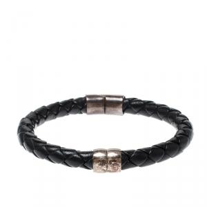 Bottega Veneta Black Woven Leather Silver Narrow Cuff Bracelet