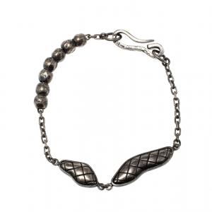 Bottega Veneta Textured Silver Beads Hook Bracelet