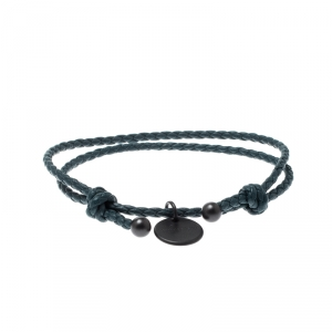 Bottega Veneta Intrecciato Nappa Blue Woven Leather Double Strand Bracelet