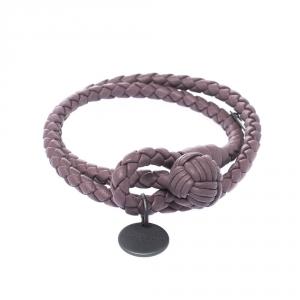 Bottega Veneta Intrecciato Nappa Purple Woven Leather Wrap Toggle Bracelet M