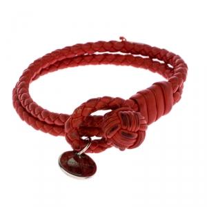 Bottega Veneta Red Intrecciato Nappa Leather Double Strand Bracelet M