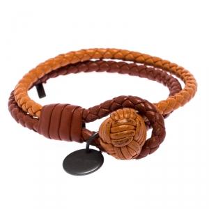 Bottega Veneta Orange Bi-color Intrecciato Nappa Woven Leather Double Strand Bracelet M