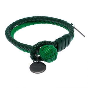 Bottega Veneta Green Bi-color Intrecciato Nappa Leather Double Strand Bracelet M