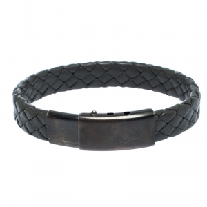 Bottega Veneta Grey Intrecciato Woven Leather Sterling Silver Bracelet
