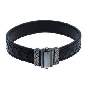 Bottega Veneta Black Intrecciato Leather Silver Bracelet