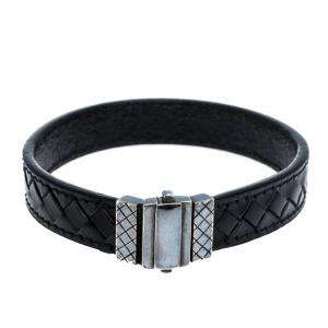 Bottega Veneta Black Intrecciato Woven Leather Silver Bracelet S