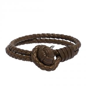 Bottega Veneta Brown Intrecciato Nappa Leather Double Strand Bracelet M