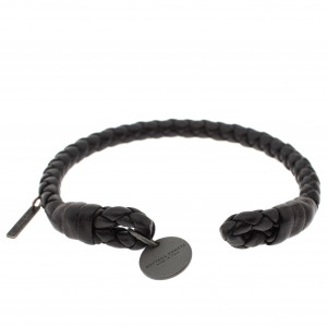 Bottega Veneta Dark Brown Intrecciato Nappa Leather Open Cuff Bracelet