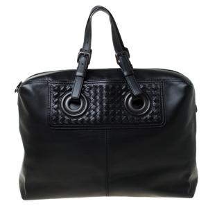 حقيبة بوتيغا فينيتا اوكولوس دوفيل كبيرة أنترشياتو جلد أسود