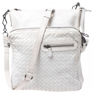 Bottega Veneta White Intrecciato Leather Messenger Bag