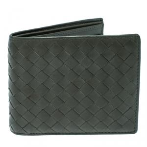 Bottega Veneta Dark Olive Green Intrecciato Leather Bifold Wallet