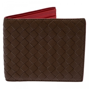 Bottega Veneta Brown Intrecciato Leather Bifold Wallet