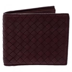 Bottega Veneta Burgundy Intreciatto Leather Bifold Wallet