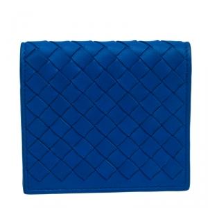 Bottega Veneta Blue Intrecciato Leather Bifold Card Holder