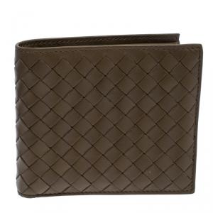 Bottega Veneta Olive Green Intrecciato Leather Bifold Wallet