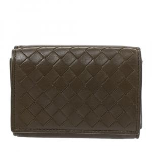 Bottega Veneta Olive Green Intrecciato Leather Trifold Wallet