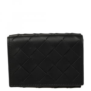 Bottega Veneta Black Intrecciato Leather Trifold Wallet