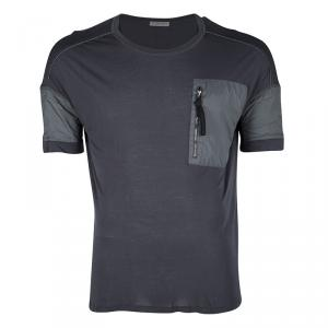 Bottega Veneta Grey Jersey Zip Detail T-Shirt L