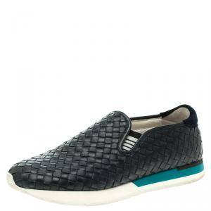 Bottega Veneta Navy Blue Intrecciato Leather Sneakers Size 40