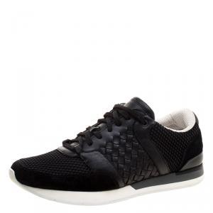 Bottega Veneta Black Leather/Suede and Mesh Sneakers 41
