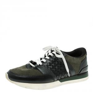 Bottega Veneta Black Intrecciato Leather and Green Suede Sneakers Size 40