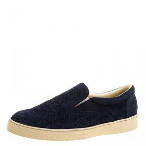 Bottega Veneta Oxford Blue Intrecciato Suede Slip On Sneakers Size 43