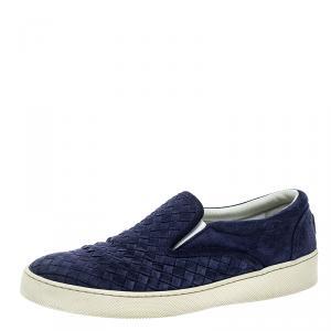 Bottega Veneta Blue Intrecciato Suede Slip On Sneakers Size 41.5