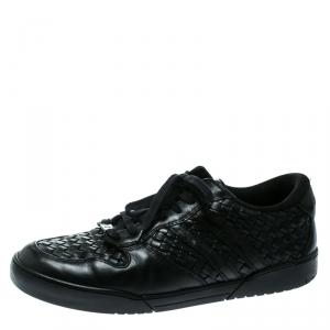 Bottega Veneta Black Intrecciato Leather Speedstar Sneakers Size 44.5