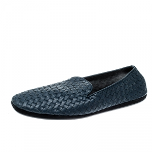 Bottega Veneta Blue Intrecciato Leather Smoking Slippers Size 44
