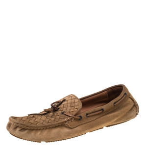 Bottega Veneta Brown Intrecciato Suede Bow Slip On Loafers Size 44