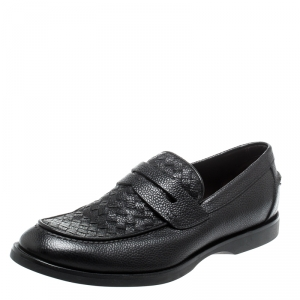 Bottega Veneta Black Intrecciato Leather Penny Loafers Size 42