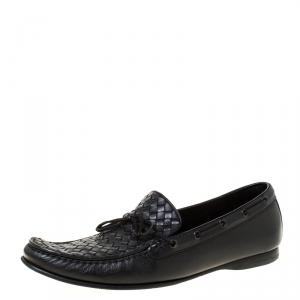 Bottega Veneta Black Intrecciato Leather Panel Loafers Size 46