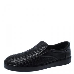 Bottega Veneta Black Intrecciato Leather Dodger Slip-on Sneakers Size 44