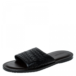 Bottega Veneta Black Intrecciato Leather Slide Sandals Size 45