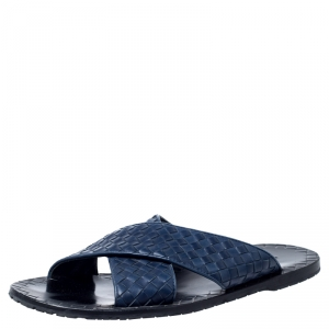 Bottega Veneta Blue Intreciato Leather Flat Sandals Size 43