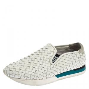 Bottega Veneta White Intrecciato Leather Slip On Sneakers Size 41