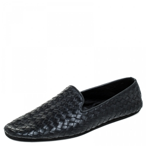 Bottega Veneta Black Intrecciato Leather Slip On Loafers Size 40