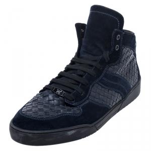 Bottega Veneta Blue Suede And Intrecciato Leather High Top Lace Up Sneaker Size 44