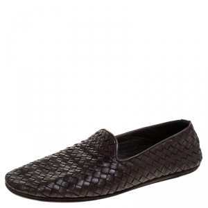 Bottega Veneta Brown Intrecciato Leather Smoking Slippers Size 42