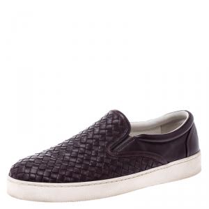 Bottega Veneta Burgundy Intrecciato Leather Slip On Sneakers Size 42