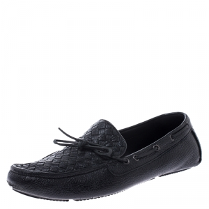 Bottega Veneta Black Leather Wave Driver Intrecciato Detail Moccasins Size 43