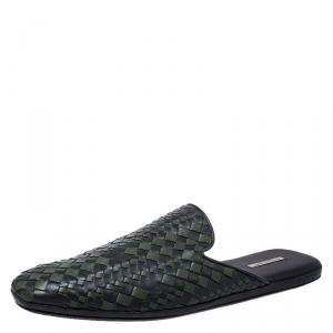 Bottega Veneta Green/Dark Grey Intrecciato Leather Fiandra Mules Size 42
