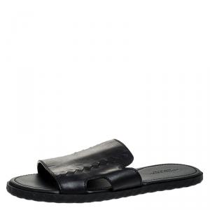 Bottega Veneta Black Leather Zig Zag Inlay Detail Plage Slip On Sandals Size 42