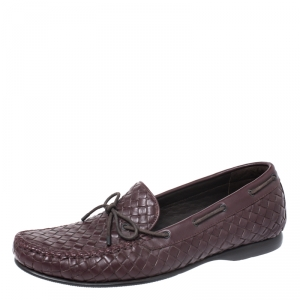 Bottega Veneta Burgundy Intrecciato Leather Bow Loafers Size 42.5