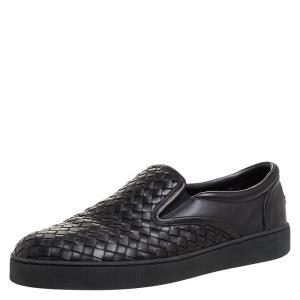 Bottega Veneta Black Intrecciato Leather Dodger Slip-on Sneakers Size 42