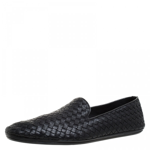 Bottega Veneta Black Intrecciato Leather Smoking Slippers Size 45.5