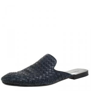 Bottega Veneta Navy Blue Intrecciato Leather Fiandra Mules Size 42