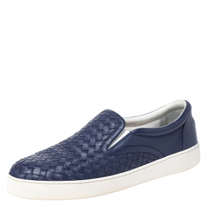 Bottega Veneta Dark Blue Intrecciato Leather Slip On Sneakers Size 42