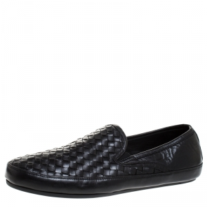 Bottega Veneta Black Intrecciato Leather Smoking Slippers Size 44