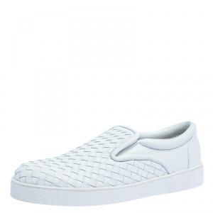 Bottega Veneta White Intrecciato Leather Dodger Slip On Sneakers Size 43